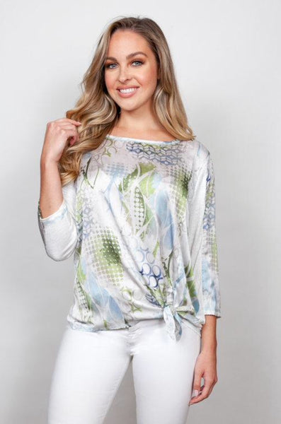 Sno Skins Combo Print Front Slub Knit Back Top w/ Tie at Hip