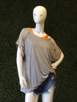 Angel Stone Wash Cut Out Sleeve Tunic
