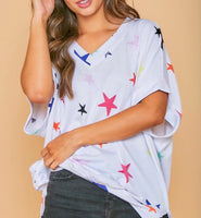 V-Neck Star Print Casual Top