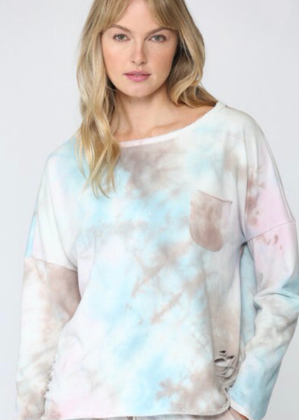 Tie Dye Distress Sweatshirt