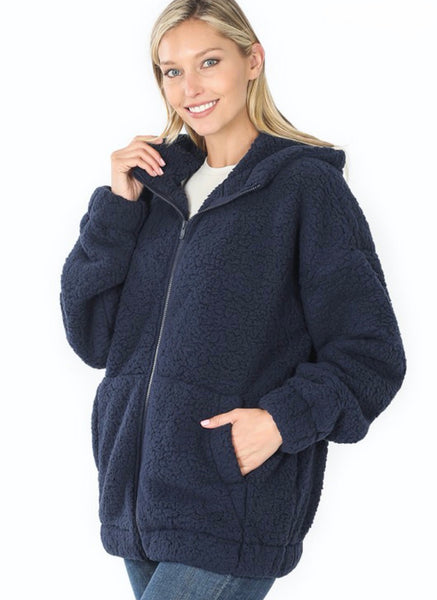 Soft Sherpa Hooded Zipped Front Jacket w/ Pockets