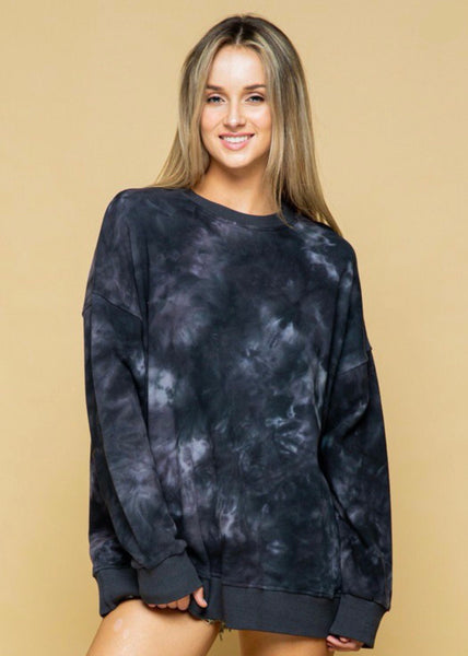 Tie Dye Cotton French Terry Boyfriend Sweatshirt
