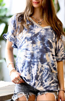 Two Tone V-Neck Tie Dye