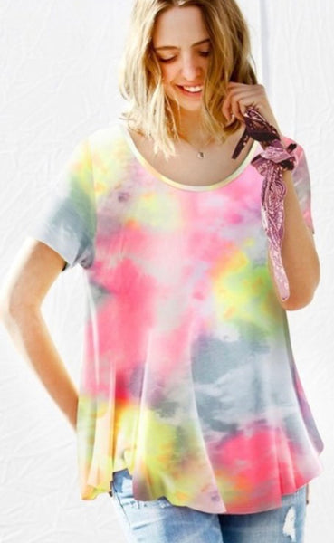 My Life Short Sleeve Multi Tie-Dye Top