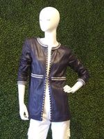 Insight Collarless Vegan Leather Long Jacket w/ Stud/ Braided Trim