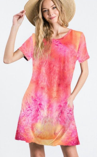 Short Sleeve Tie Dye Top w/ Pockets