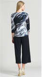 Clara Sunwoo Floral Stripe Soft Knit V-Neck Top w/ Cascade Drape Detail