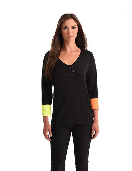 Angel Neon Cuff V-Neck Top