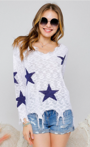 Adora Star Printed Distressed Detailed Light Weight Sweater