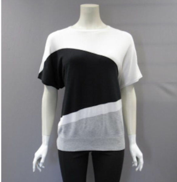 Metric Short Sleeve Color Block Banded Bottom Sweater