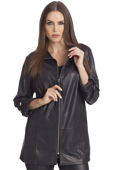 Angel Microfiber Leather Long Jacket