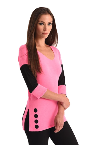 Angel Lightweight V Neck Sweater w/ Side Slit and Polka Dot Detail