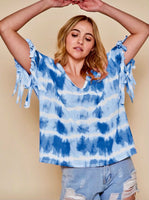Short Sleeve Tie Dye V-Neck Top w/ Fringe Details