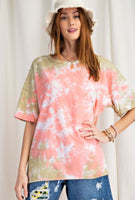 Pastel Tie Dye Crew Neck Short Sleeve Top