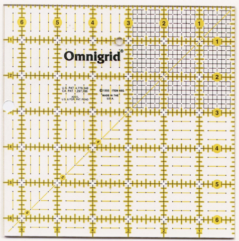 Omnigrid Ruler 6 1/2in x 6 1/2in With Grid