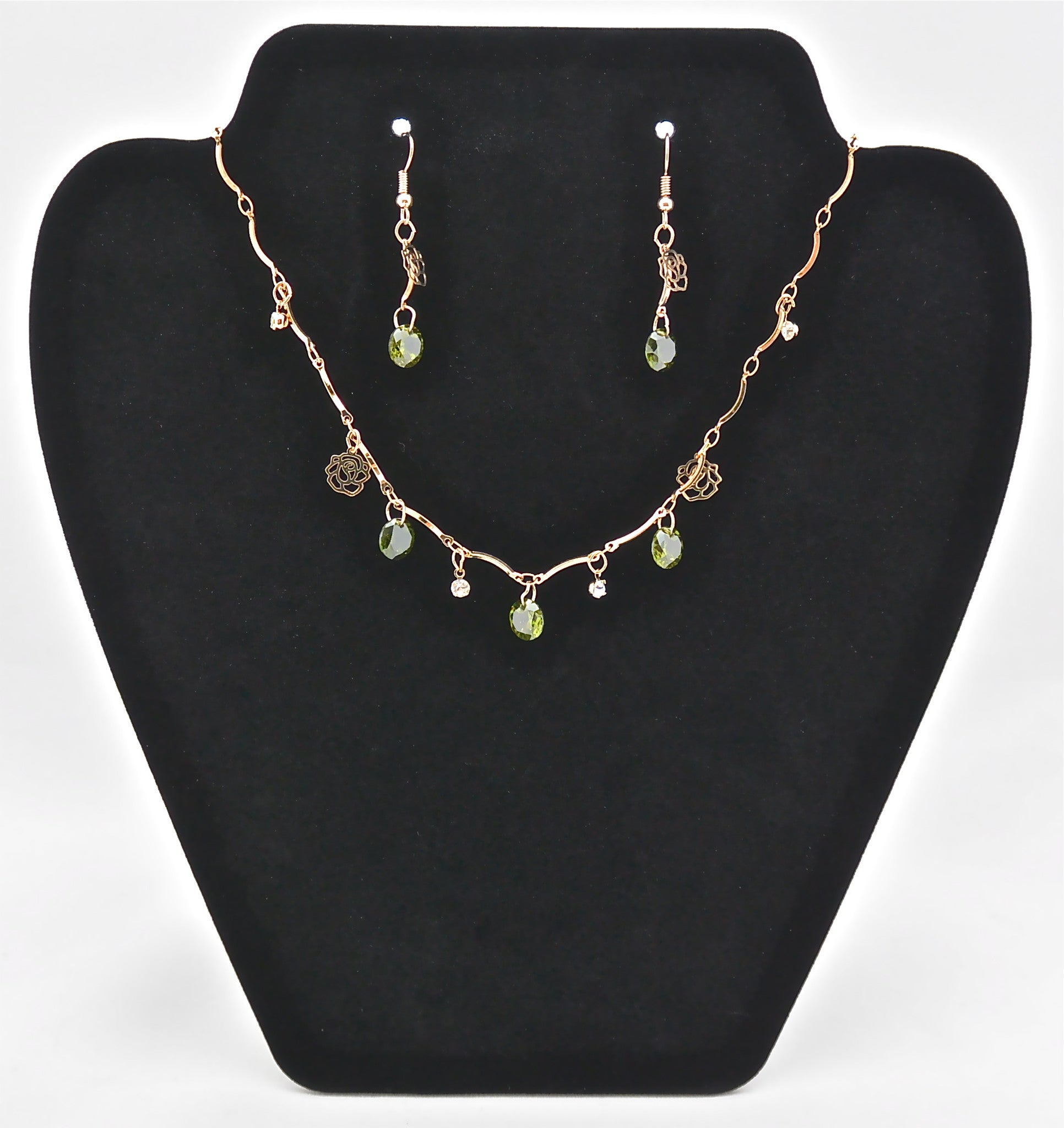 jewelry aaa green necklace dsc set clear stone gold cz plated collections products crystal earrings