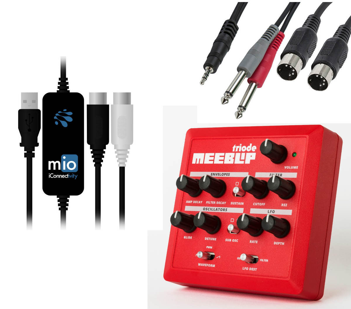 Bundle: triode synth + mio USB MIDI interface + cables