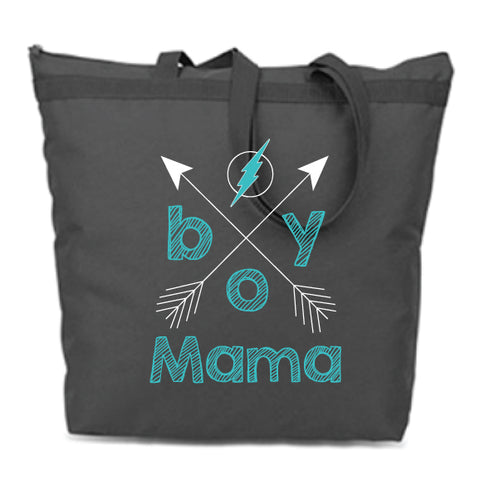 Boy Mama Zip Tote Bag