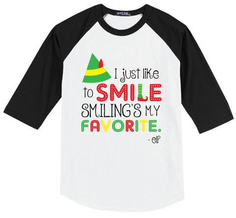 ELF SMILE KIDS BLK RAGLAN