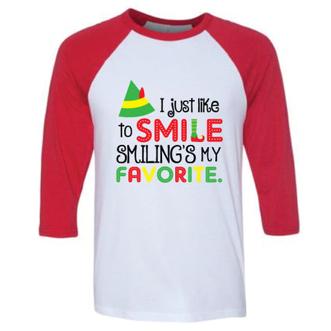 ELF SMILE Adult Red Raglan