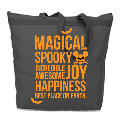Spooky MAGICAL Black Zip Tote -- LIMITED EDITION!