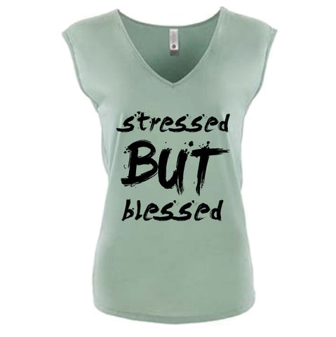 STRESSED BUT BLESSED V-NECK TEE