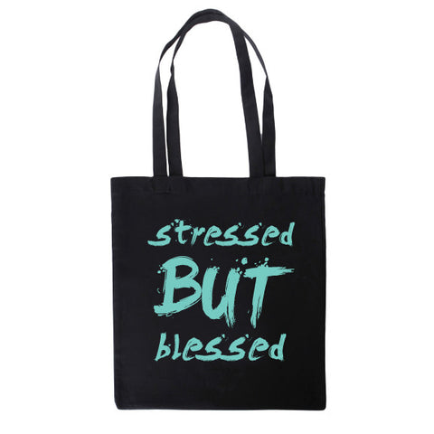 Stressed But Blessed™ Black & Mint Haute Tote