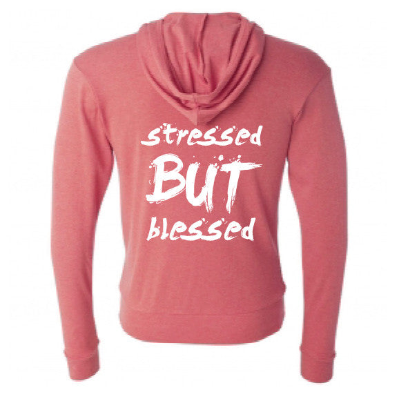 Stressed But Blessed Red Zip Hoodie