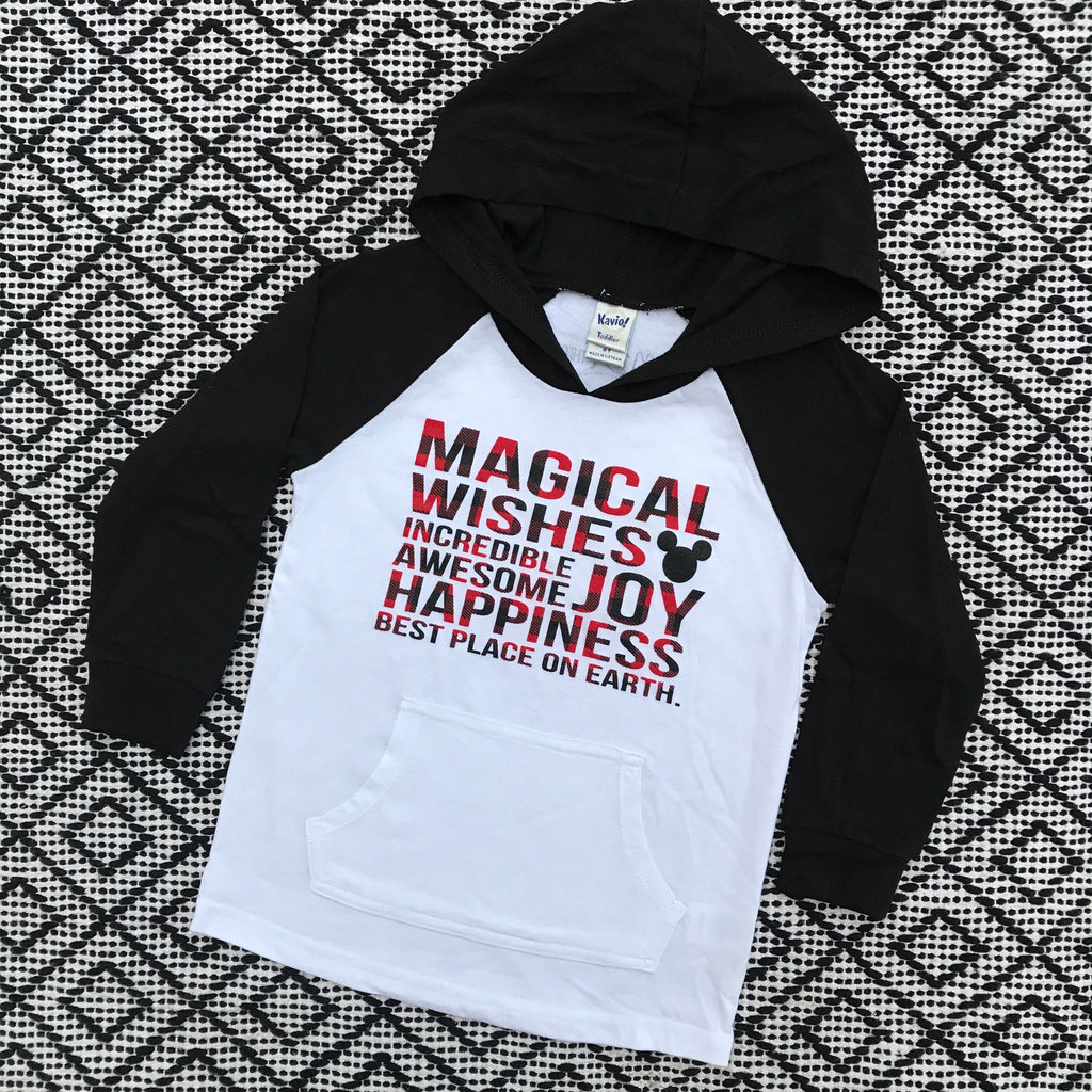 Magical Kidster Buffalo Plaid Hoodie Raglan
