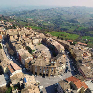A hillside town in Marche, Italy and surrounding countryside