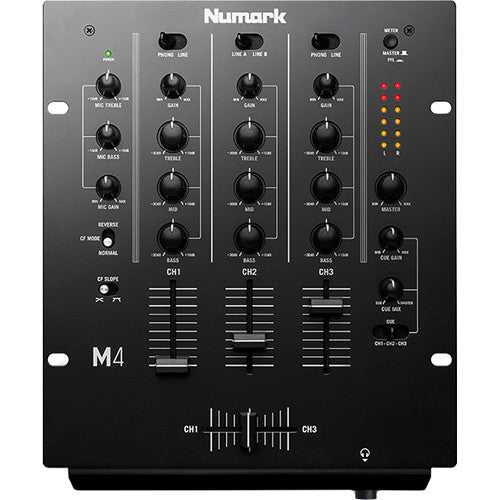 Numark M4 - Three-Channel DJ Mixer with 3-Band EQ (Black)