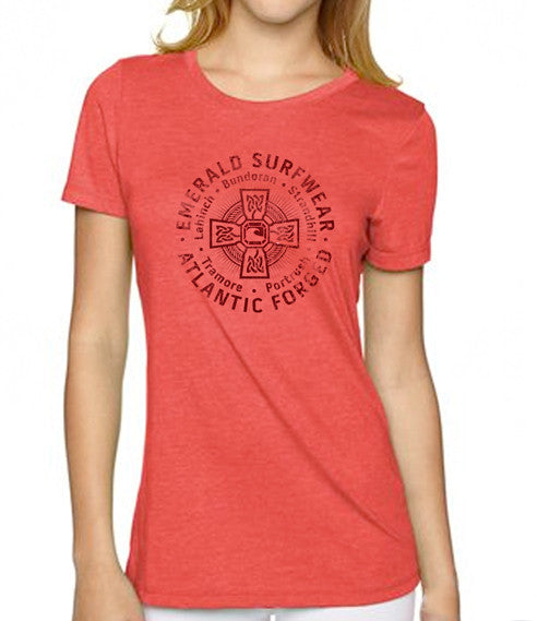 Emerald Surfwear Womens Atlantic Forged T-Shirt (Red)