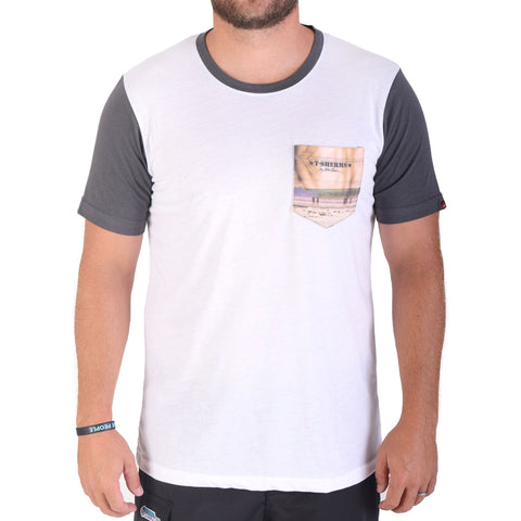 T-Sherms Bali Edge Pocket T Shirt (White/Grey)