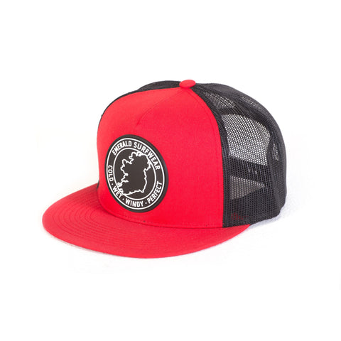 Emerald Surfwear Trucker Cap (Red & Black)
