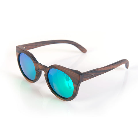 Woodroze PoleKat Ebony Wood Polarized Sunglasses (Polar Mirror Lens)