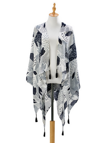 Gray and Black Abstract Kimono and Stylish Scarf