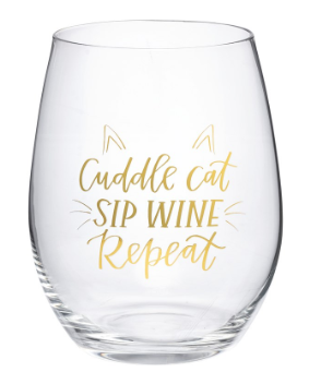 Cuddle Cat Sip Wine - Wine Glass