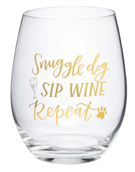 Snuggle Dog Sip Wine - Wine Glass