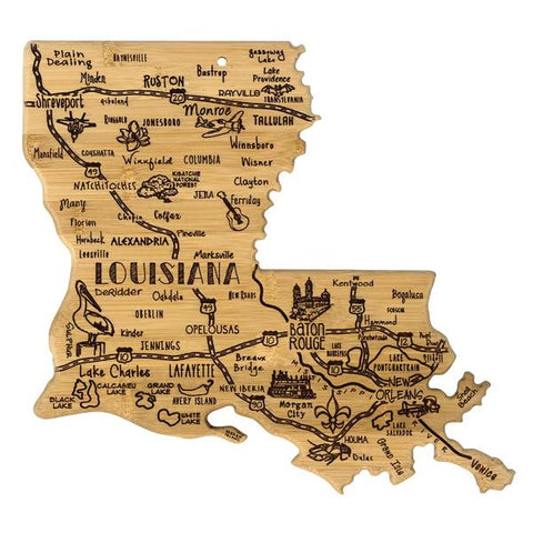 Destination- LOUISIANA- State Shaped Cutting board by Totally Bamboo