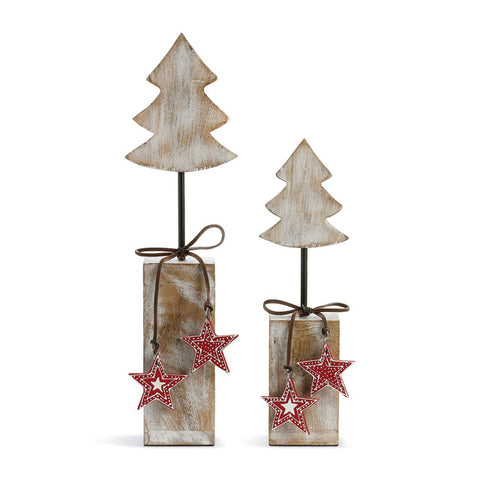 Rustic Wooden trees on blocks- with bright red stars