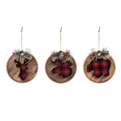 Wood disc Ornaments with Red & Black Plaid underlay