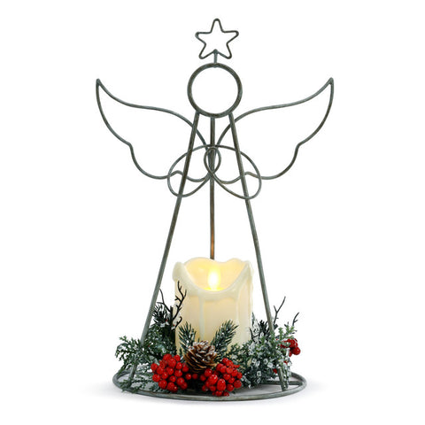 Lit Wire Angel with LED Candle Figure