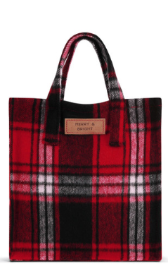 Merry & Bright Plaid Gift Bag-Large