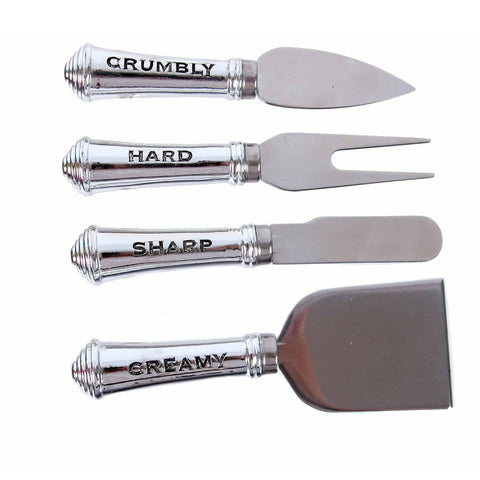 Metal Inscribed Cheese Knift Set