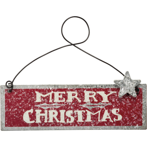 Mini metal Merry Christmas Ornament