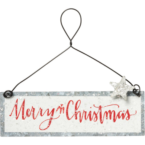 Mini metal Merry Christmas Ornament -White