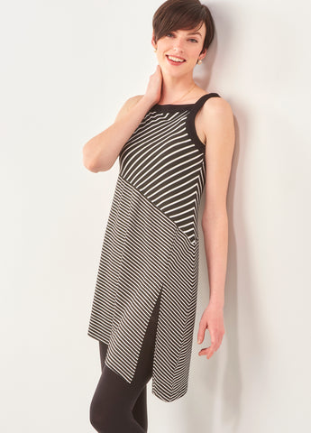 Charlie Paige dress with asymetrical stripes