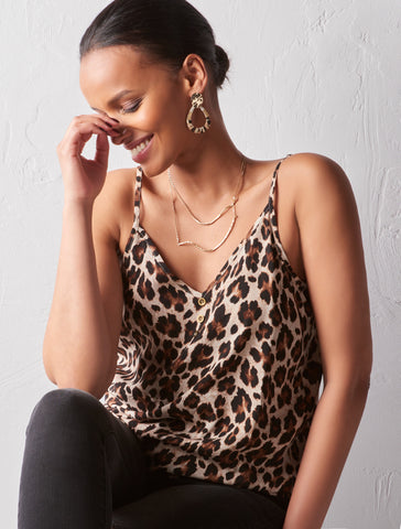 Charlie Paige Ladies Camisole in Leopard