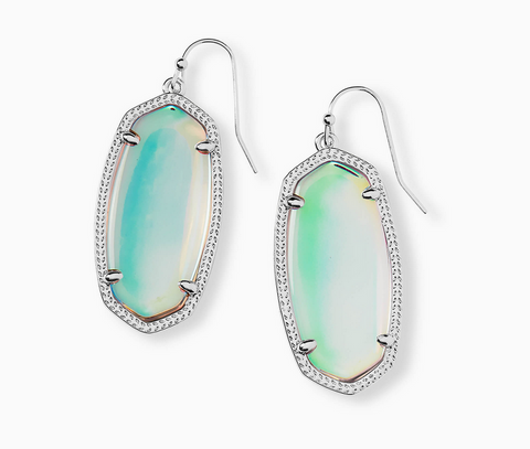 Elle Silver Drop Earring in Dichroic Glass
