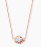 Tess Rose Gold Pendant Necklace in Dichroic Glass